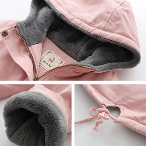 Fall/Winter Warm Fur Cute Cat Embroidery Loose Hooded Coat Women