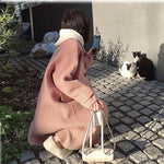 Fall Winter Fancy Pink/Beige Wool Long Sleeve Loose Midi Overcoat For Women