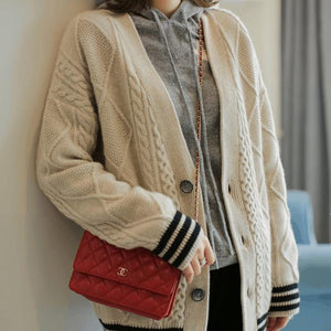 Fall Winter Lazy Warm Wool V-neck Color Blocking Loose Knit Cardigan Sweaters Women