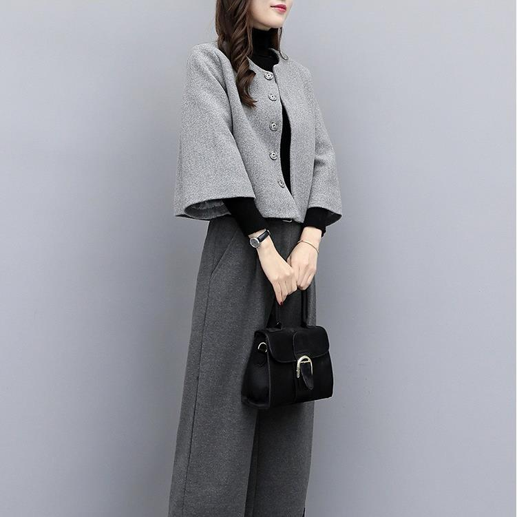 Plus Size Fall Winter Elegant Solid Color Loose Coat&Wide-leg Pants 2 Piece Set For Women