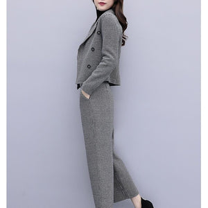 Fall Winter Elegant Wool Plaid Coat & Wide-leg Pants Two Piece Set For Women