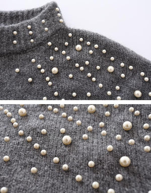 Fall/Winter Fashion Grey/Black Pearl Sweaters For Women
