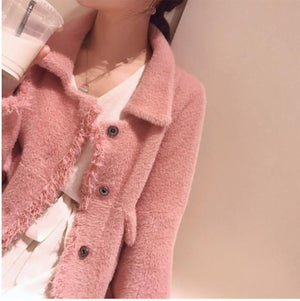 Fall Winter Fancy Mink-like Knit Loose Coats For Women