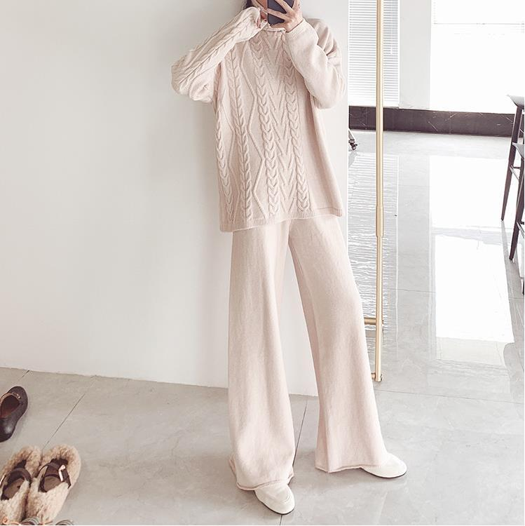 Fall Winter Fancy bodycon V-neck Knit Sweater&Pants Two Piece Set For Women