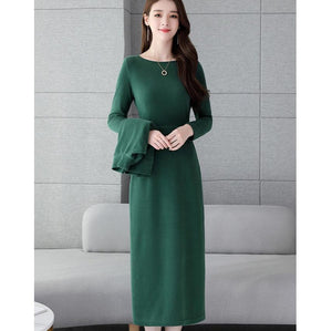 Fall Winter Elegant Solid Color Knit Tops&Dress Two Piece Set For Women