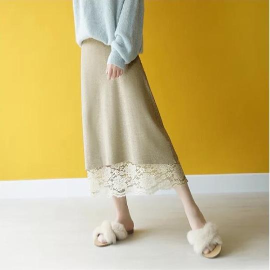 Fall Winter Fashion Reversible Knit Lace Skirts For Women