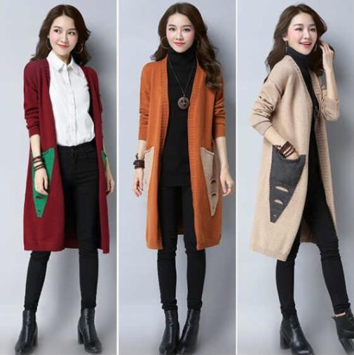 Plus Size Fall Winter Casual Color Blocking Knit Midi Cardigan Coats For Women