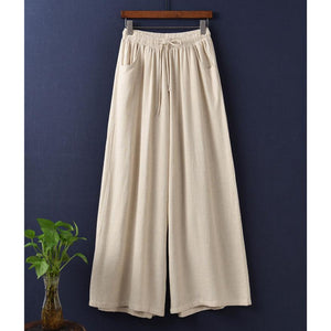 Vintage Linen Loose Long Bloomers Wide-leg Pants For Women