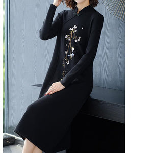 Fall Winter Elegant Embroidery Knit Sweater Dresses For Women