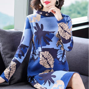 Retro Printed Stand Collar Knit Sweater Dresses For Women