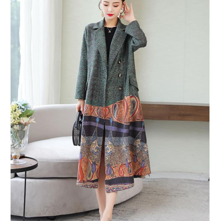 Fall Winter Elegant Retro Creative Printing Wool Midi Overcoats For Women