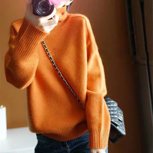 Fall Winter Lazy Orange Warm Cashmere Solid Color Loose Knit Sweaters Women