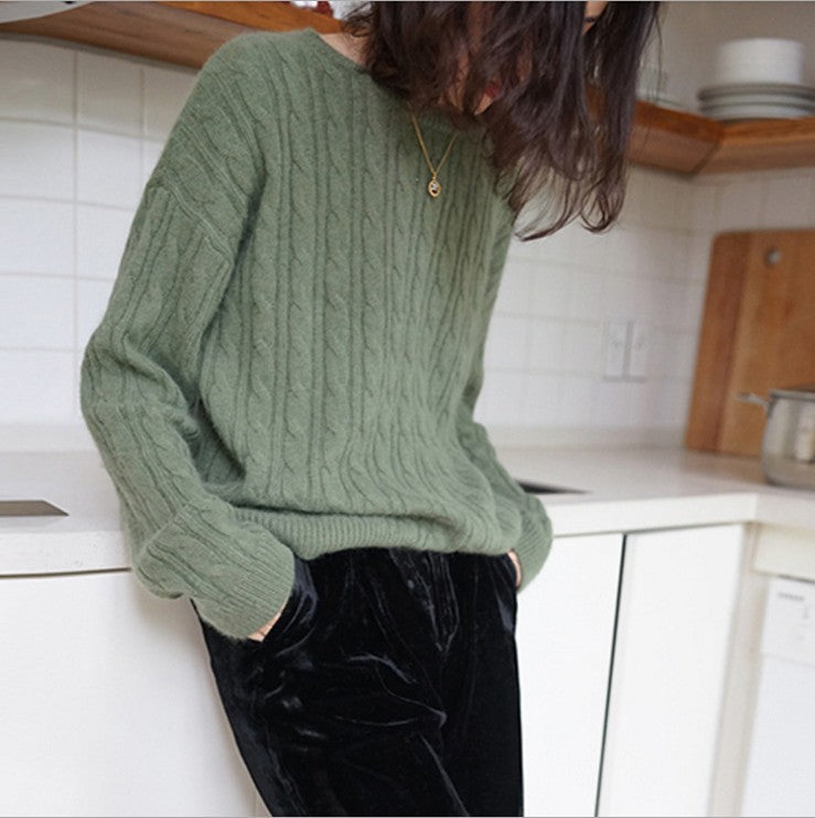 Fall Winter Lazy Style Warm Cashmere Solid Color Loose Knit Sweaters Women