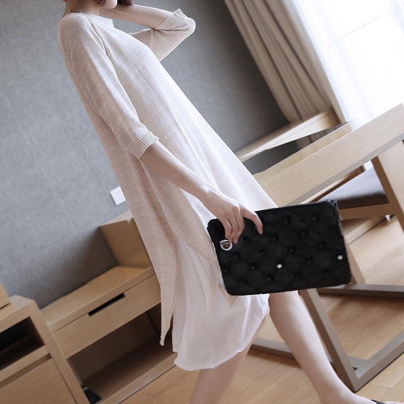 Fall/Winter Casual Solid Color Half Sleeve Knitting Midi Dresses Women