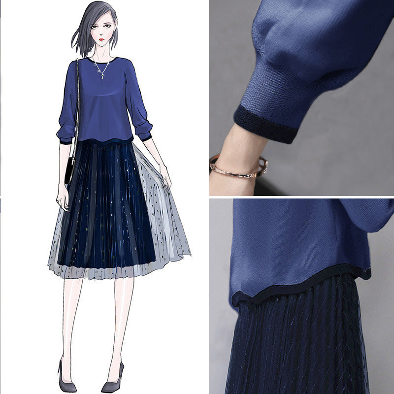 Fall Elegant Blue Solid Color Long Sleeve Knit Tops&Skirt Two Piece Set Women