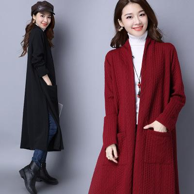 Plus Size Fall Winter Casual Warm Knit Midi Cardigan Coats For Women
