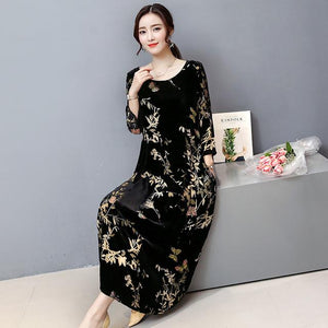Plus Size Fall Winter Elegant Black Velvet Printed 3/4 Sleeve Loose Maxi Dresses