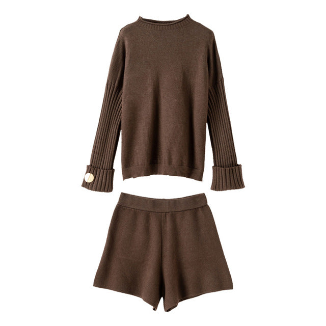 Plus Size Fall Winter Elegant Long Sleeve Loose Scarf&Sweater&Shorts Pants 3 Piece Set For Women