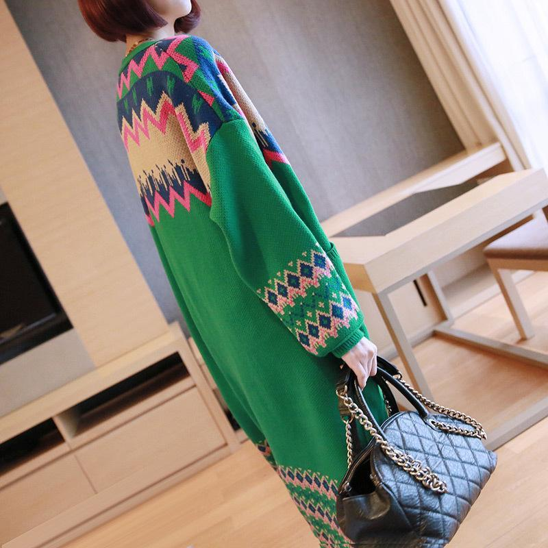 Plus Size Fall/Winter Casual Color Blocking Geometric Patterns Long Sleeve Knitting Maxi Cardigan Coat Women