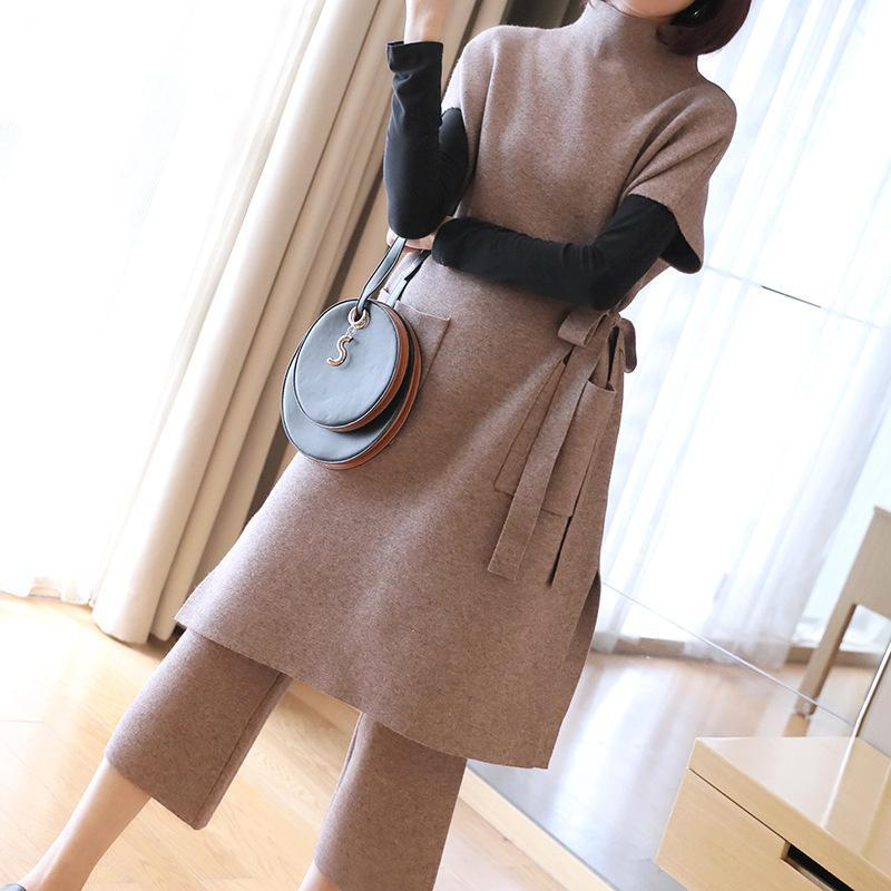 Fall/Winter Elegant Solid Color Waist Pullover Knitting Midi Tops&Capri-pants Two Piece Set