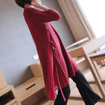 Fall/Winter Elegant Solid Color Half Sleeve Pullover Knitting Midi Sweaters Women