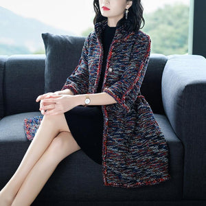 Women's Fall/Winter Luxury Waist Woolen Tweed 3/4 Sleeve Midi Coat