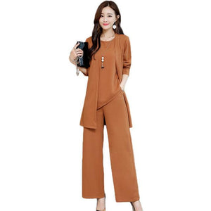 Fall Winter Elegant Black/Brown Solid Color Suits Long Sleeve Blouse&Coat&Wide-leg Pants Three Piece Set For Women