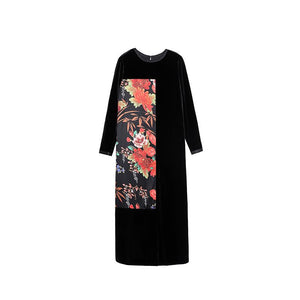 Fall Winter Elegant Black Flower Printed Velvet O-neck Loose Maxi Dresses