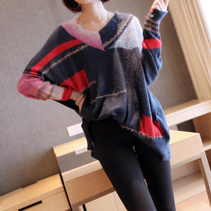Plus Size Fall/Winter Fashion Blue Color Blocking Long Sleeve V-neck Knitting Sweaters Women