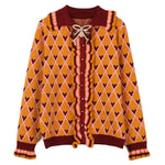 Fall Winter Retro Sweet Bownot Diamond Flounce Sweaters Cardigan For Women