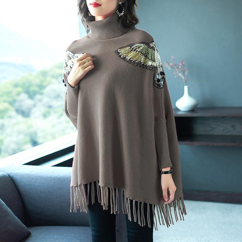 Women's Fall/Winter Elegant Solid Color Embroidery Long Sleeve Loose Knit Cape Sweaters