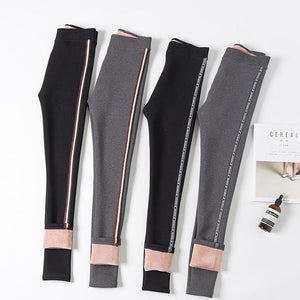 Plus Size Fall Winter Fashion Warm Fleece-lined Thicken Slim-fit Pants For Women