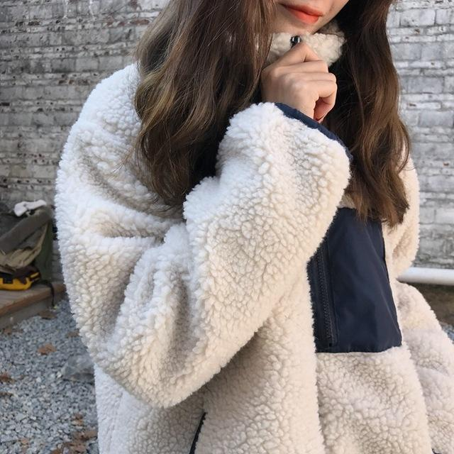 Fall Winter Fashion Lamb Wool Warm Loose Cotton-padded Jackets Coat For Women