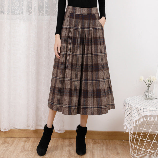 Plus Size Fall Winter Casual Plaid Wool Midi Skirt For Women