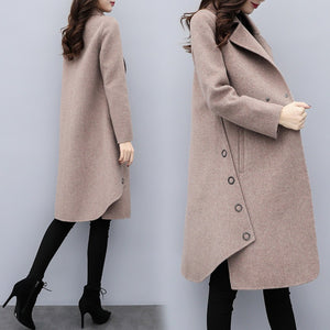 Fall Winter Casual Solid Color Midi Overcoat For Women