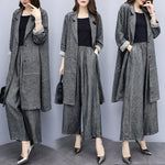 Fall Plus Size Casual Grey Solid Color Long Sleeve Loose Suits Coat&Wide-leg Pants Two Piece Set Women