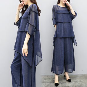Fall Elegant Blue Solid Color 3/4 Sleeve Knitting Blouse&Capri-pants Two Piece Set Women