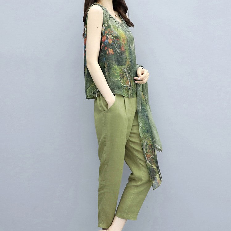 Summer Elegant Green Printed Imitated Silk V-neck Blouse&Coat&Pant Three Piece Set