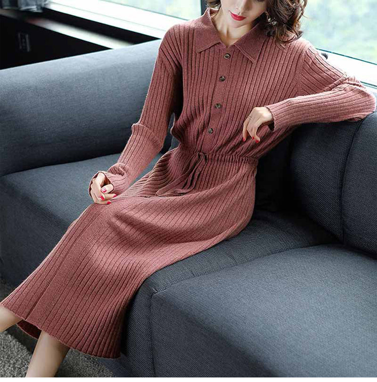 Fall Winter Elegant Long Sleeve Waist Knitting Dresses For Women