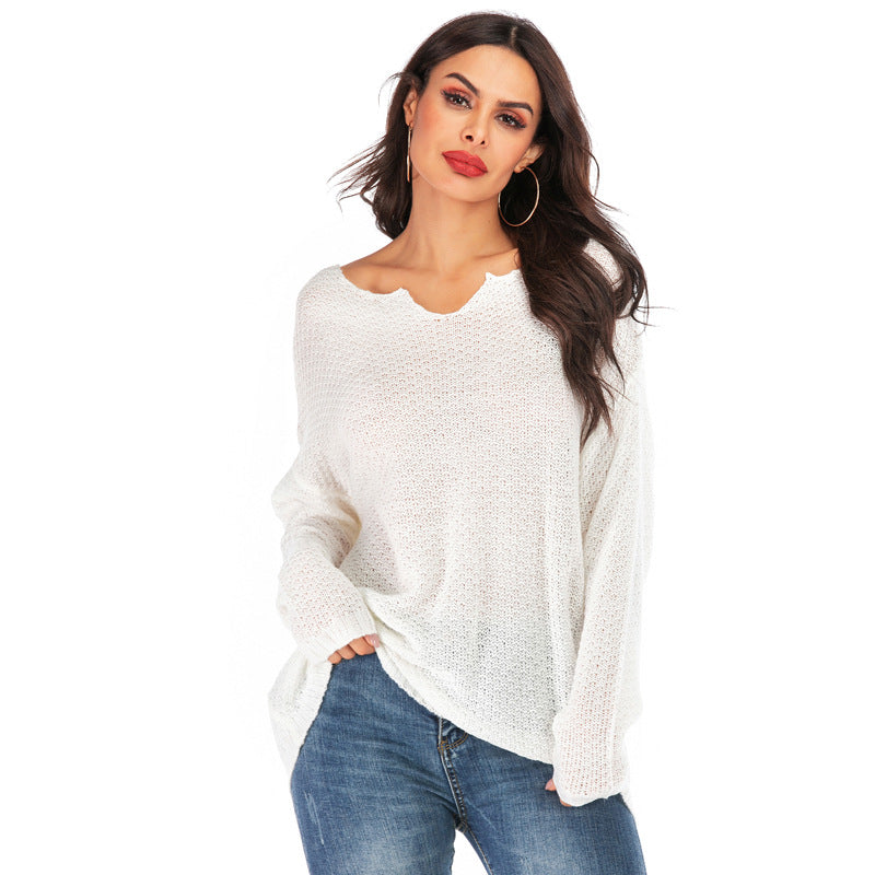 Fall/Winter Fashion Plus Size Multiple Color Solid Color Long Sleeve V-neck Loose Knitting Sweater