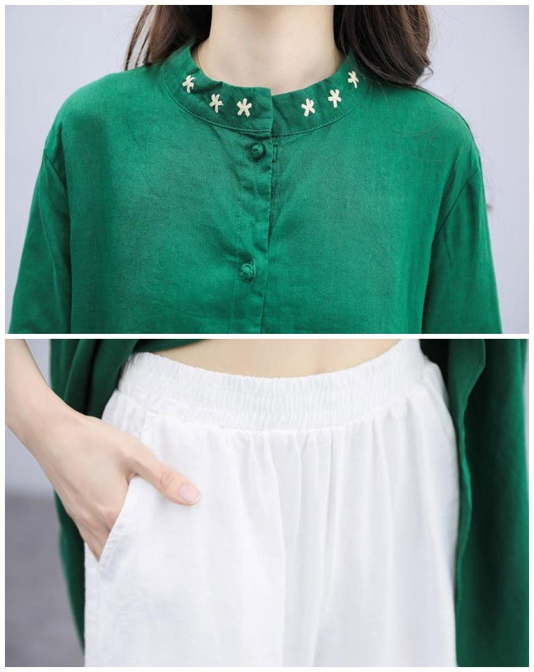 Summer Elegant Green Embroidery Solid Color Half Sleeve Cotton Linen Tops&Culotte Two Piece Set