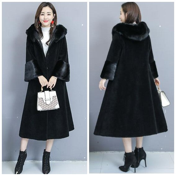 Plus Size Fall Winter Elegant Wool Solid Color Midi Overcoats For Women