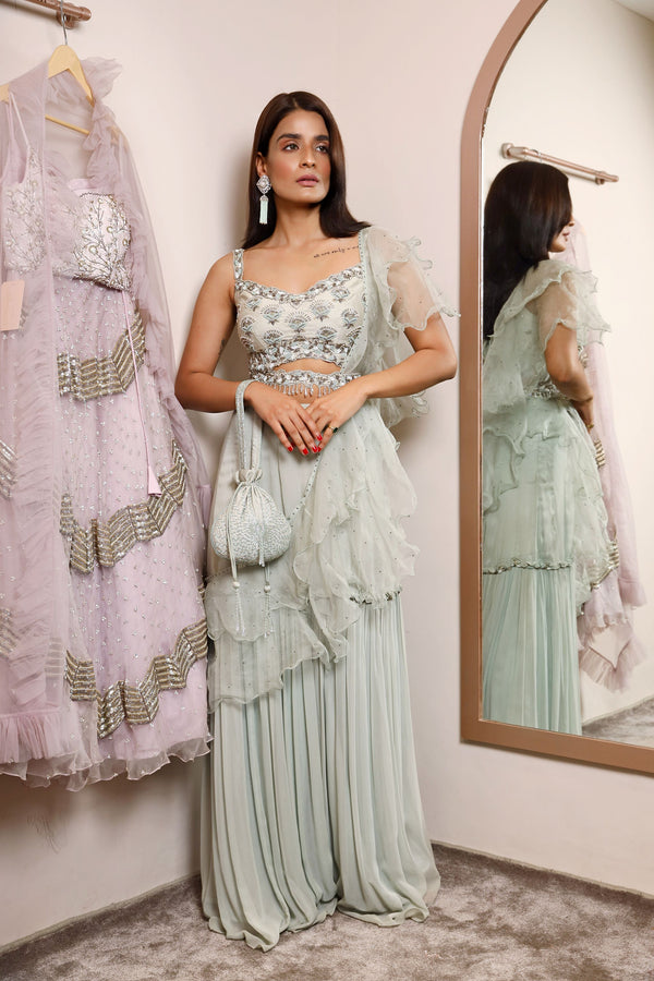 Crop Top Sharara Ruffle Dupatta And Belt