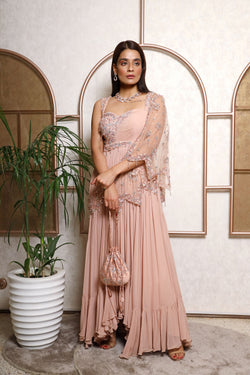 A Line Gown With Asymetric Dupatta