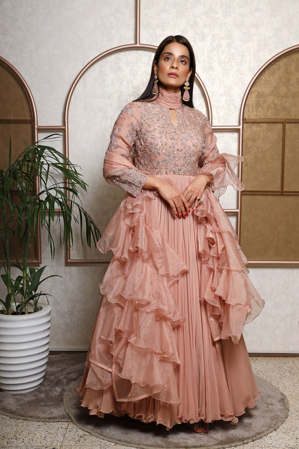 Ruching Neckline Gown With Ruffled Dupatta
