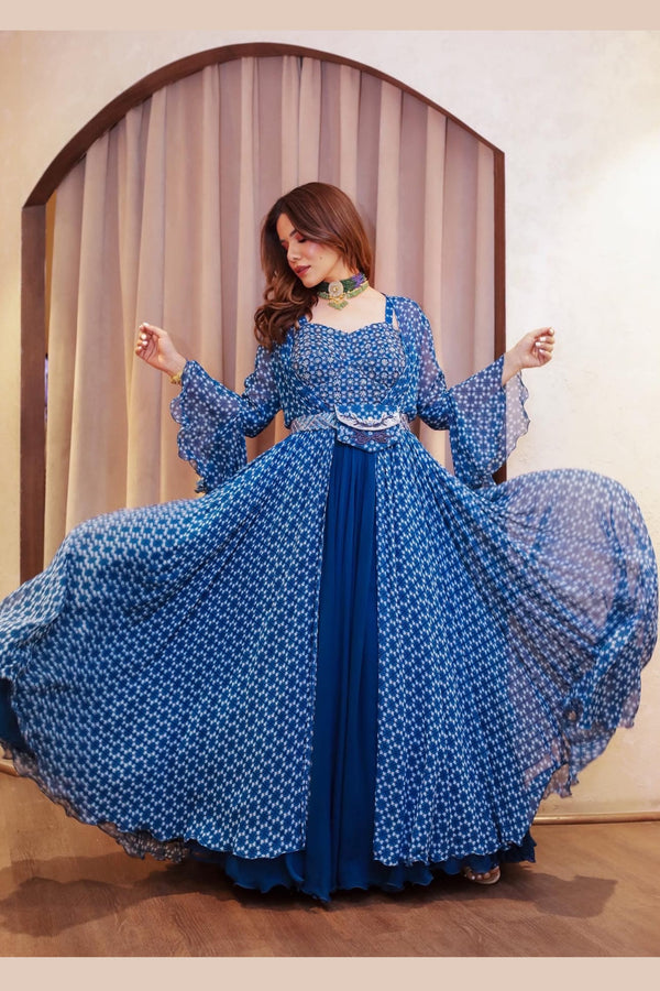 Deep Aurora Blue Corset Anarkali With Printed Bell Sleeve Cape