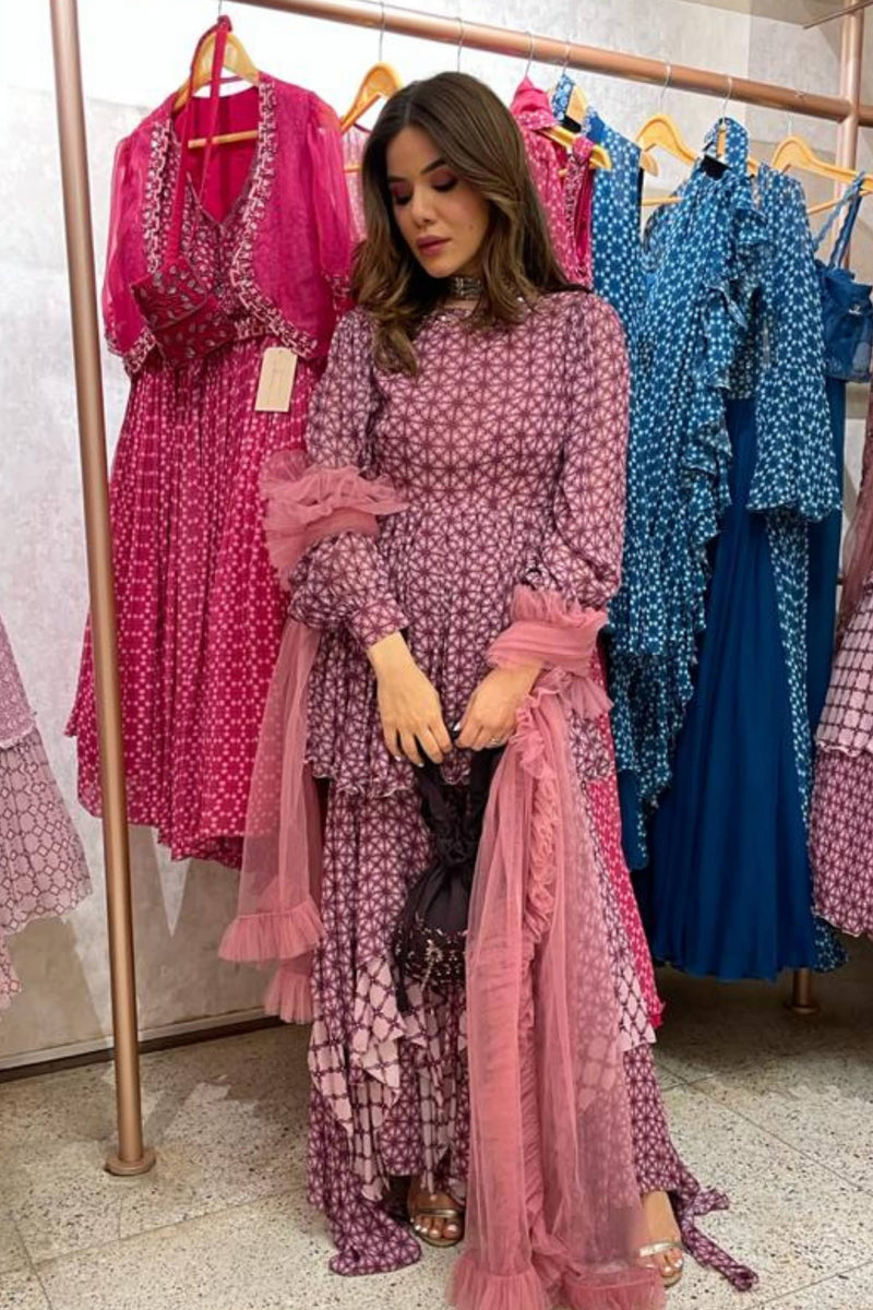 Deep Cassis Pink Printed Sharara with Sleeve and Sharara pants