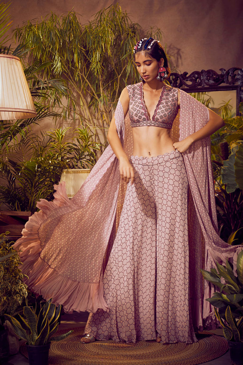 Smoked Pink Printed With Blouse, Pants and Tiered Cape