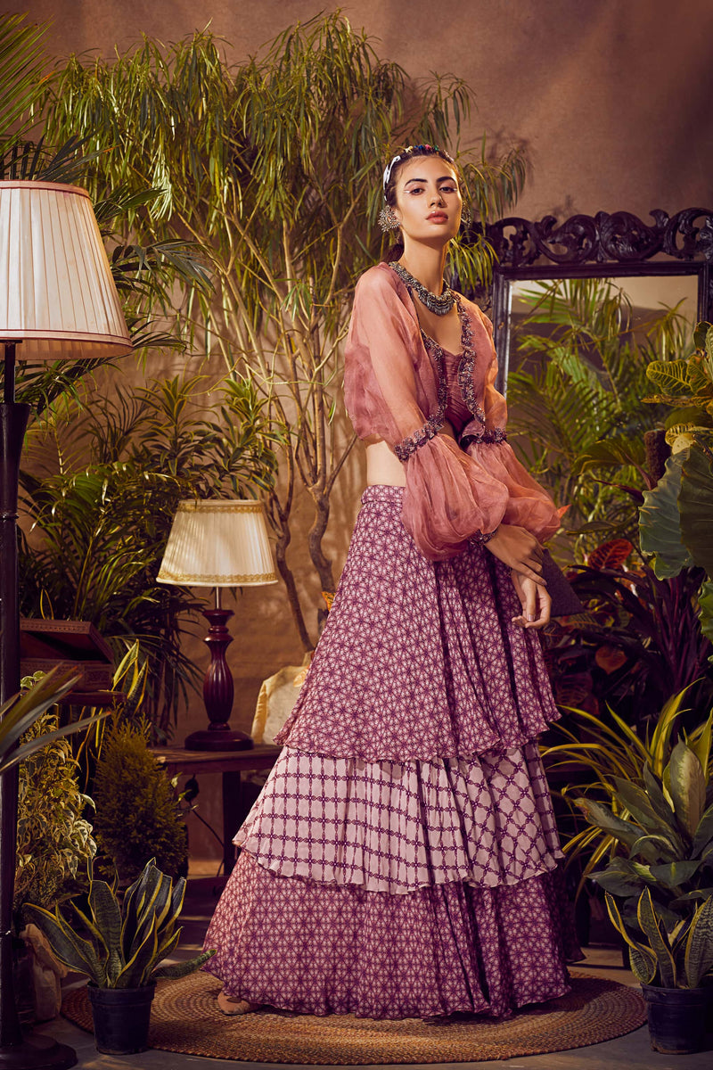 Dark Cassis Pink Ruffled Lehenga With Blouse and Organza Cape
