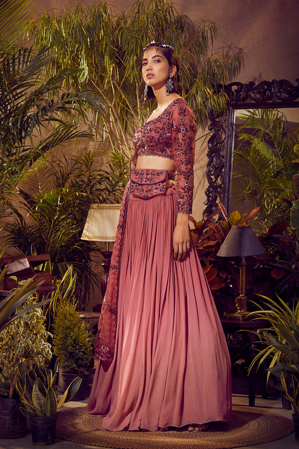 Deep Cassis Pink Ombre Lehenga with Blouse and Dupatta
